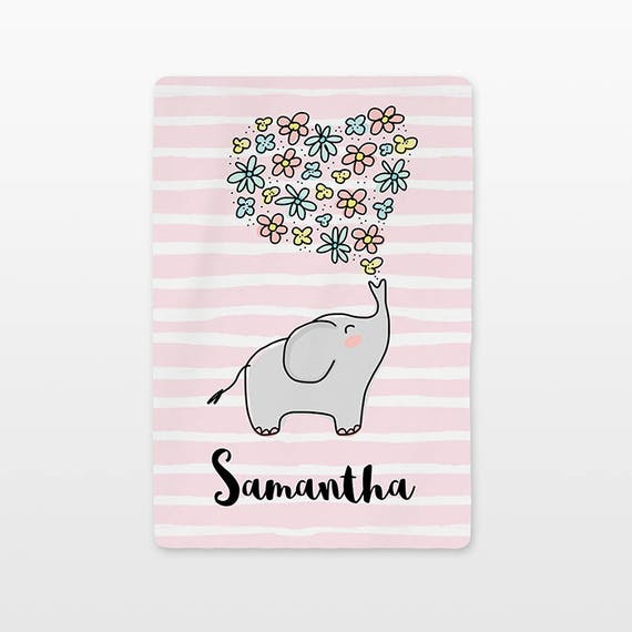 Elephant Personalized Baby Blanket Custom Name Fleece Minky Baby Girl Newborn Gift Baby Shower Gift New Baby Gift Floral Flowers Cute Pink