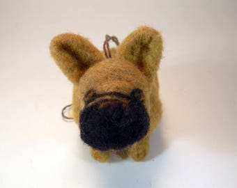 French bulldog ornament/tan French bulldog/fawn French bulldog/needle felted French bulldog/wool French bulldog/beige black French bulldog