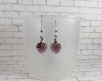 Mothers Day Gift for Her Silver Purple Heart Earrings Birthstone Jewelry Gift Under 20 Birthday Gift for Mom Dangle Drop Earrings Gift Mom