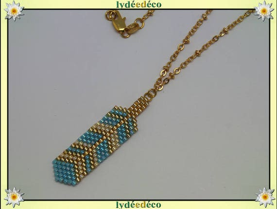 Necklace plated 18 k blue turquoise beige Gold feather weaving beads ball chain
