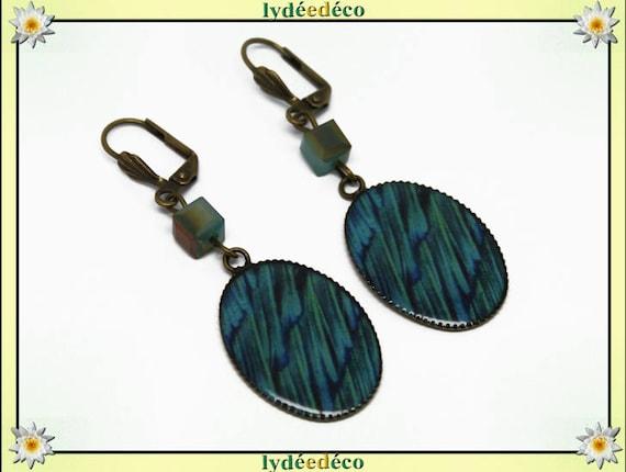 Earrings vintage retro feather peacock blue green resin brass beads glass pendants 18x25mm