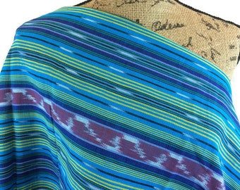 Ethnic Woven Fabric--Guatemalan Fabric--South American Fabric--Ethnic Style Fabric--Handwoven--Turquoise Striped--Fabric by the HALF YARD