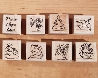 Stampin' Up Retired Set - 2002 Holiday Minis - Rubber Stamp Set of 8 - RS-048