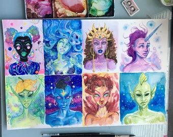 Fantasy Faces Watercolor Portraits - small original watercolor art set of 8 portraits