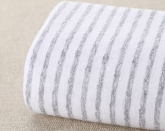 Gray Striped Cotton Knit Fabric Sold by Half Meter GZ607