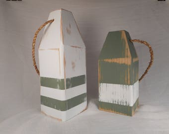 2 wooden lobster buoys / beach decor / nautical decor