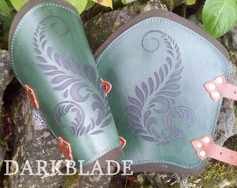 A Pair of Engraved Leather Bracers suitable for Larp, Cosplay and Costume. Green with Ferns