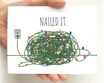 Nailed It Funny Christmas Card - Funny Christmas Card- Funny Holiday Cards - Tangled Christmas Lights - Tangled Lights Card