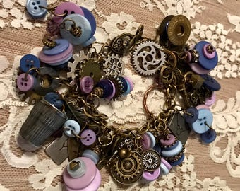 Chunky Charm Bracelet With Purple and Blue Buttons And  Metal Charms .   Antique Bronze Tone Chain Link Bracelet.