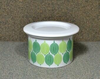 Vintage Arabia Finland Gooseberry Jam Pot w Cover, 1960s Scandinavian Covered Butter in Shades of Green, Porcelain Jam Jar w Gooseberries