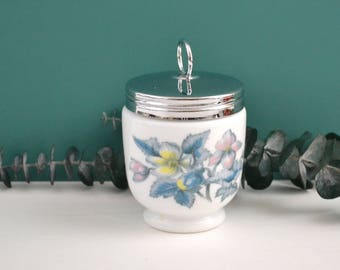 Royal Worcester Large Egg Coddler, Woodland Pattern, Flowers Leaves, Blue Pink Yellow, White Pottery & Silvery Metal, Made in England