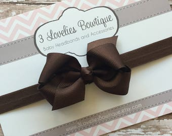Bow Headband..Brown Headband..Brown Baby Bow..Baby Bow Headband..Baby Girl Headband..Baby Headband..Infant Headband..Bow Headband