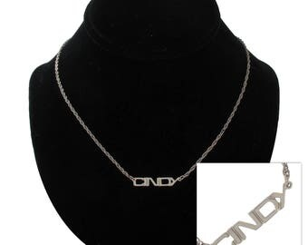 Cindy Silver Tone Name Pendant Necklace Jewelry Vintage 1970s