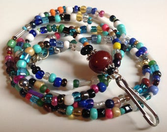 """Work Accessories I.D Badge Name Tag Holder Lanyard Necklace size 30"""" Mixed Beads The Badge That Goes With Every Outfit"""