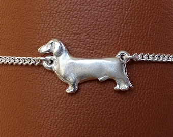Sterling Silver Smooth Dachshund Anklet