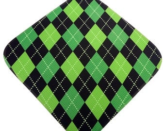 Green-Lime-Black Argyle Print Microfiber Golf Towel Women's Golf Gifts