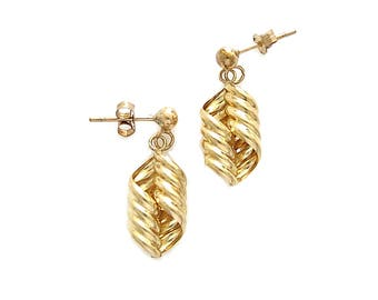 Vintage 9K Gold Spiral Earrings, Vintage Jewelry | Vintage UK Gold Jewellery