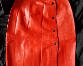 Incredible Orange Leather Skirt