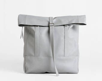 Gray Backpack convertible tote bag, Vegan School Bag, Minimalist backpack, Vegan travel bag, Back to school Backpack, Faux leather backpack
