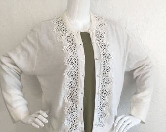 Volup White Cardigan Sweater with Lace