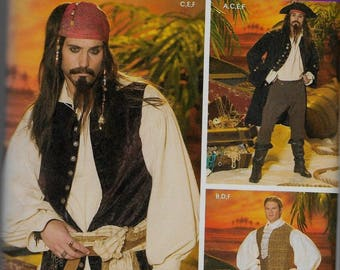 4923 Simplicity Men's Pirate Costume Sewing Pattern Sizes 42-48 Makes Coat, Vests, Shirt, Cravat, and Pants Jack Sparrow