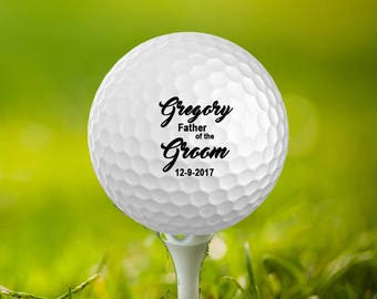Father of the Bride,Father of the Groom,Date,name Customized Golf Balls, Personalize Wedding Favors,Set of 3,Printed,Save The Date, GB-33