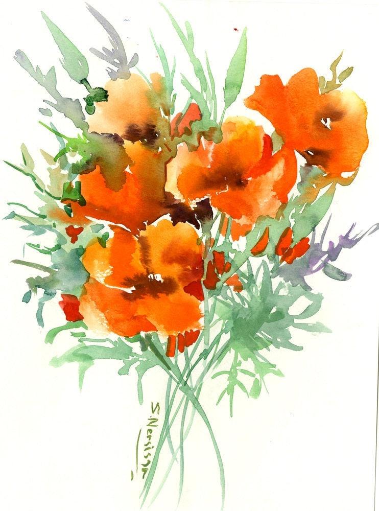 Flowers Artwork California Poppies Original watercolor
