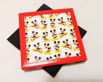 Mickey Mouse Coasters, Mickey Mouse Gift, Valentine's Gift, Mickey Mouse Valentine's Gift, Mickey Mouse Wedding Gift, Gift Basket