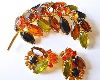 Juliana D&E Rhinestone Leaf Brooch Earrings Set, Harvest Colors, Vintage, green orange yellow