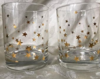 "Vintage, Pair (2) HTF,  Signed, Culver, 4"" Old Fashion, Glassware, STAR, Pattern, USA"