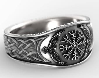 RESERVED FOR heindlb585 2 Payments for Palladium Oden's Ravens & Helm of Awe Ring, Mens Wedding Band, Raven Jewelry, Odin Viking Ring 1160