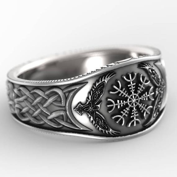 viking rune ring 1186 29300 reserved for heindlb585 2 payments for palladium odens ravens helm of awe ring mens - Norse Wedding Rings