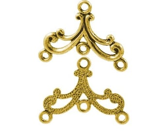chandeliers, antique gold color, 27x21mm 10 connectors