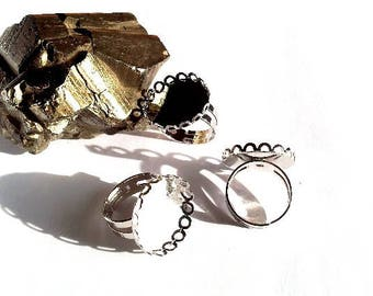 10 rings adjustable silver plate 20mm round cabochon or cameo