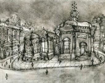 Harrogate Drawing, Royal Pump Room art print, Yorkshire Museum, Pump Room Harrogate, Building Drypoint, Architecture England Clare Caulfield