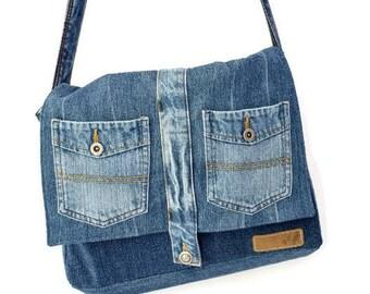 Denim messenger bag , recycled jean crossbody bag ,blue messenger bag , upcycled cross over purse , vegan purse