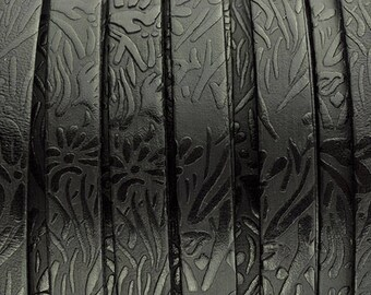 10MM Floral Embossed Leather - Black - High Quality Leather Made in Eu - 2ft/24""