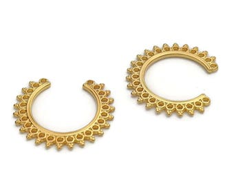 2 Earring/Pendant Components - Gold - High Quality Metal Casting - On Trend