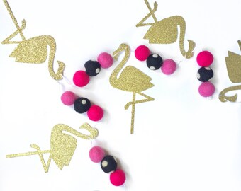 Flamingo + Felt Ball Garland glitter banner Flamingo party girls bedroom decor Birthday Party Pineapple Let's Flamingle