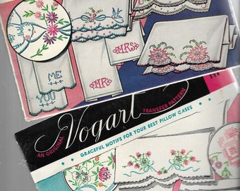 1950s VOGART TRANSFER PATTERNS - Lot of 2 Packages #128, 147 - His Hers, Mr Mrs, You Me, Florals, Motifs, Iron On Transfer - Uncut Originals