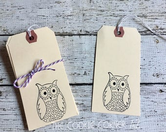 Owl tag 4.5x2.5 inch 10 count