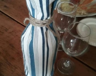 Blue striped bottle cover