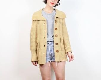 Hippie vintage maglione Tan Brown 1970s maglione Cardigan in maglia a costine Boho grande collare 70s maglione Jumper accogliente cravatta cintura Cardi S M Medium