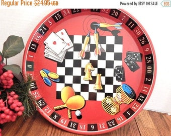 Bar Serving Tray Vintage 1960's Red Black Round Metal Game Room Lithograph Roulette Poker Checkers Darts Dominoes Dice Man Cave Home Decor