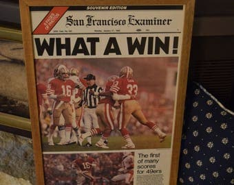 FREE SHIPPING Extremely Rare San Francisco 49ers 1985 Custom original complete framed newspaper Super Bowl XIX Champions Man Cave