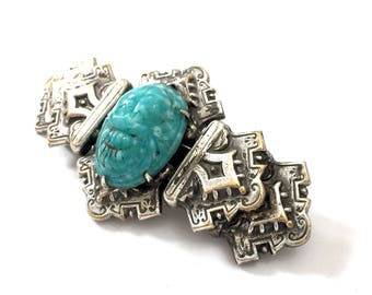 Art Deco Egyptian Revival Silver Tone Brooch, Turquoise Faux Scarab, Antiqued Silver Tone, Ornate Repouse Bar Brooch, Vintage Statement