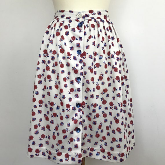 "Vintage skirt plus size knee length floral checkerboard print high waisted mom skirt button front UK 18 plus handmade mod 36"" waist"
