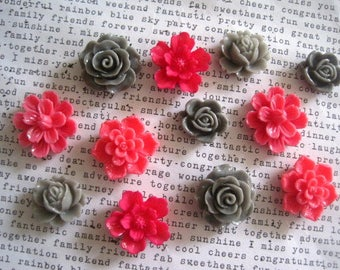 Dark Pink and Gray Magnets, 12 pc Flower Magnets, Locker Magnets, Small Gifts, Housewarming Gifts, Wedding Favors