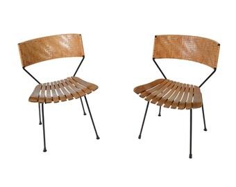 Slat Chairs Woven Backs Arthur Umanoff Mid Century Modern