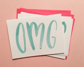OMG cards   Set of 4 hand-painted notecards